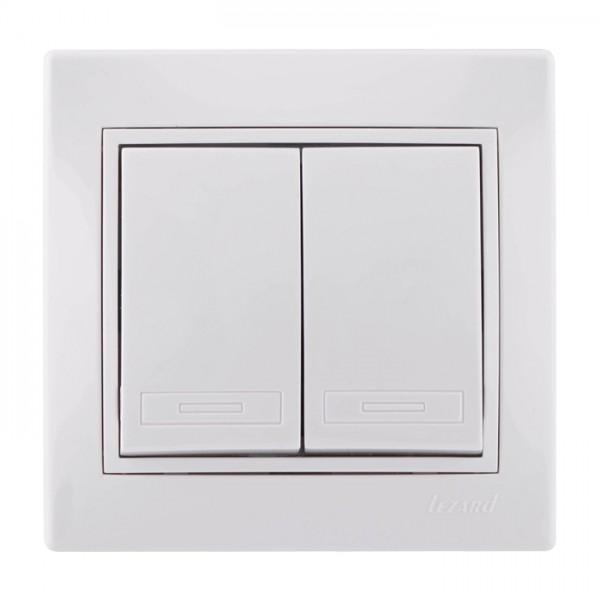 Вимикач подвійний білий серія Mira фото, цена