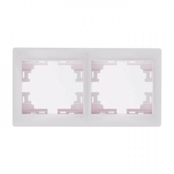Рамка 2-ая горизонтальная б/вст, белый, Mira фото, цена