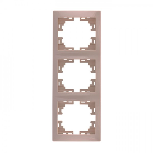 Рамка 3-ая вертикальная б/вст, крем, Mira фото, цена