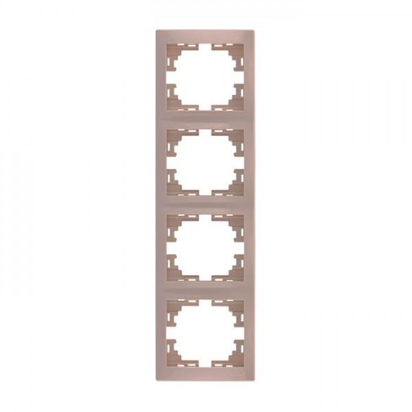 Рамка 4-ая вертикальная б/вст, крем, Mira фото, цена