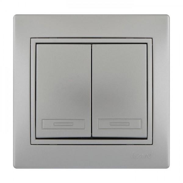 Выключатель двойной, серый металлик, Mira фото, цена