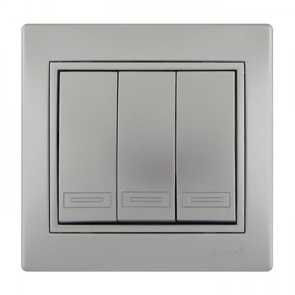 Выключатель тройной, серый металлик, Mira фото, цена