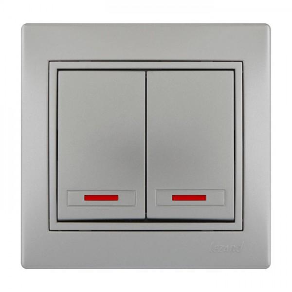 Выключатель двойной с подсветкой, серый металлик, Mira фото, цена