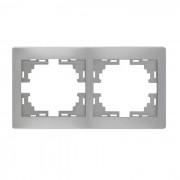Рамки для розеток Рамка 2-ая горизонтальная б/вст, серый металлик, Mira фото, цена