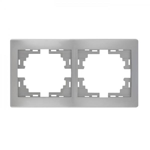 Рамка 2-ая горизонтальная б/вст, серый металлик, Mira фото, цена