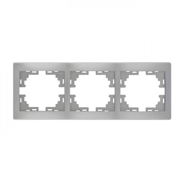 Рамка 3-ая горизонтальная б/вст, серый металлик, Mira фото, цена