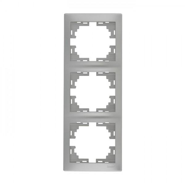 Рамка 3-ая вертикальная б/вст, серый металлик, Mira фото, цена