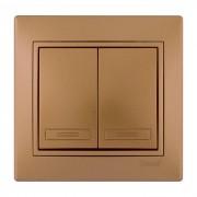 Выключатели Выключатель двойной, матовое золото металлик, Mira фото, цена