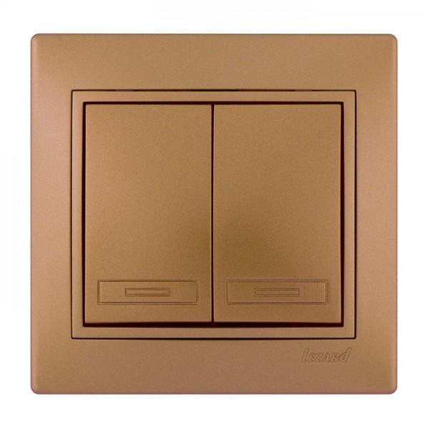 Выключатель двойной, матовое золото металлик, Mira фото, цена