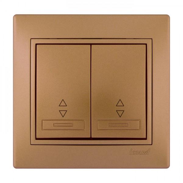 Выключатель проходной двойной, матовое золото металлик, Mira фото, цена