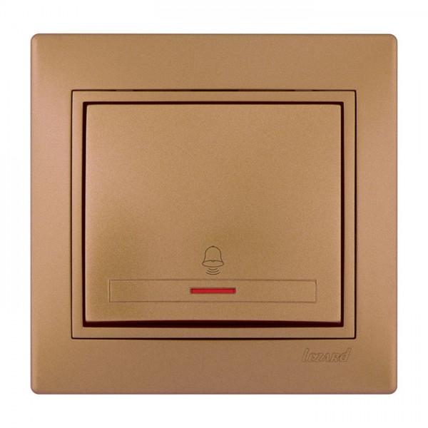 Кнопка звонка с подсветкой, матовое золото металлик, Mira фото, цена