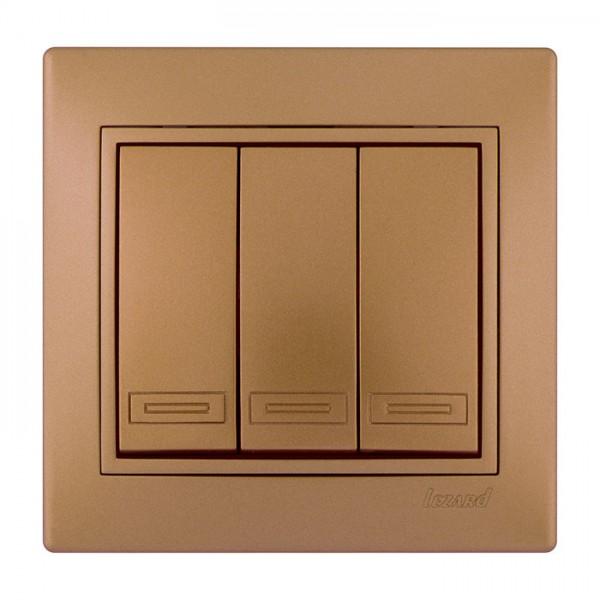 Выключатель тройной, матовое золото металлик, Mira фото, цена