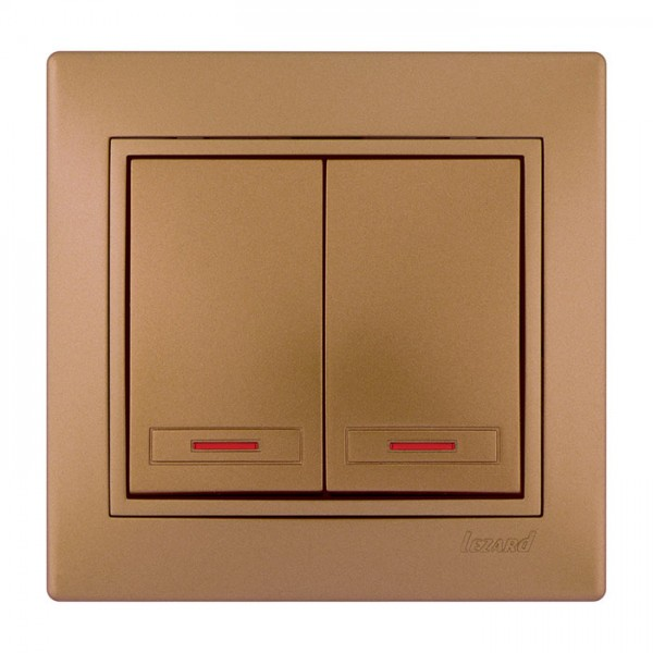 Выключатель двойной с подсветкой, матовое золото металлик, Mira фото, цена