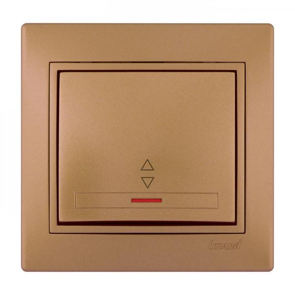 Выключатель проходной с подсветкой, матовое золото металлик, Mira фото, цена