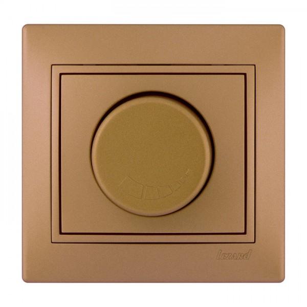 Диммер 500 Вт с фильтром и предохранителем, матовое золото металлик, Mira фото, цена