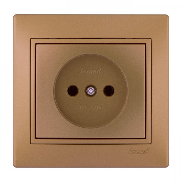 Розетка б/з - FireProof Бакелит, матовое золото металлик, Mira фото, цена