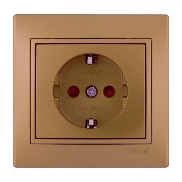 Розетка с защитой от детей - FireProof Бакелит, матовое золото металлик, Mira фото, цена