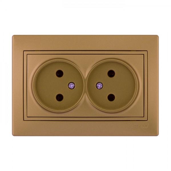 Розетка двойная б/з, матовое золото металлик, Mira фото, цена