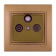 Розетки ТВ-Радио спутниковая розетка проходная, матовое золото металлик, Mira фото, цена