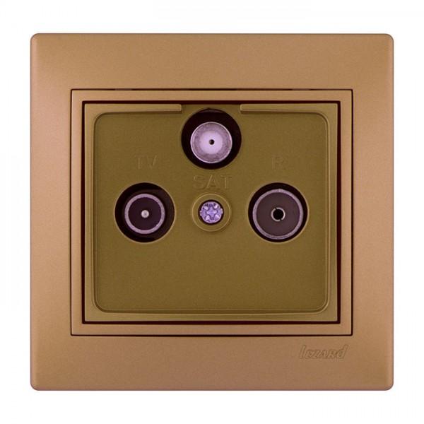 ТВ-Радио спутниковая розетка проходная, матовое золото металлик, Mira фото, цена
