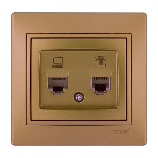 Розетка телефонная двойная евро, матовое золото металлик, Mira фото, цена