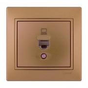Розетки Розетка компьютерная, матовое золото металлик, Mira фото, цена