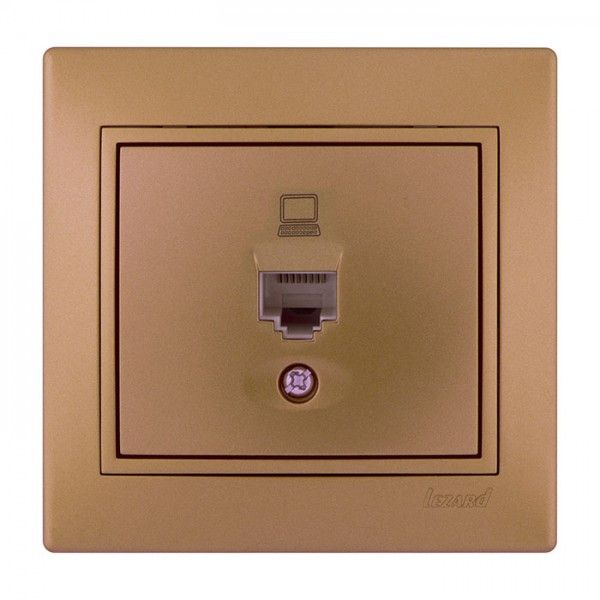 Розетка компьютерная, матовое золото металлик, Mira фото, цена
