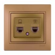 Розетки Розетка компьютер+телефон, матовое золото металлик, Mira фото, цена
