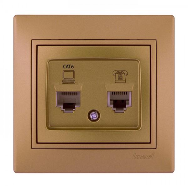 Розетка компьютер+телефон, матовое золото металлик, Mira фото, цена