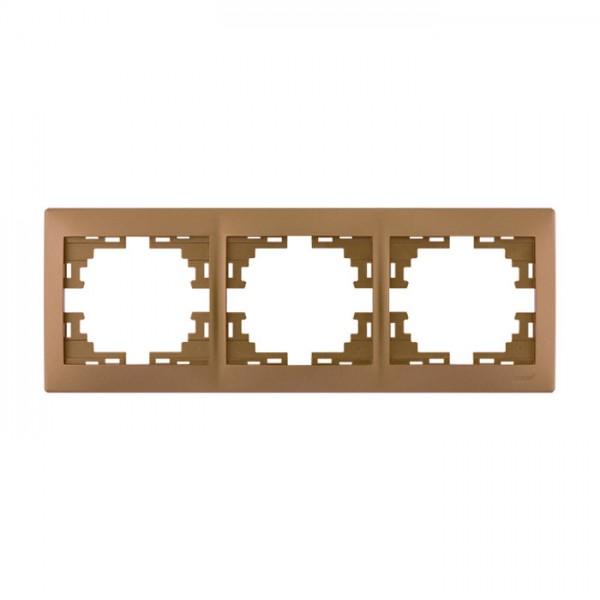 Рамка 3-ая горизонтальная б/вст, матовое золото металлик, Mira фото, цена
