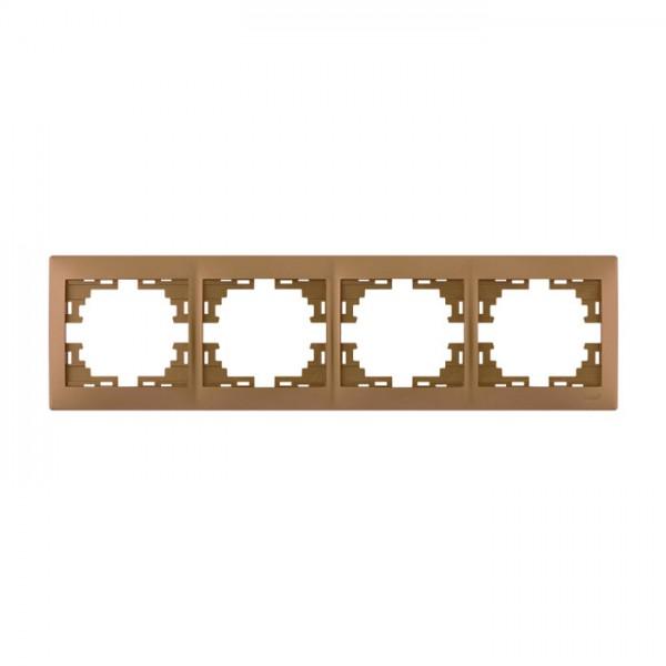 Рамка 4-ая горизонтальная б/вст, матовое золото металлик, Mira фото, цена