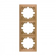 Рамки для розеток Рамка 3-ая вертикальная б/вст, матовое золото металлик, Mira фото, цена