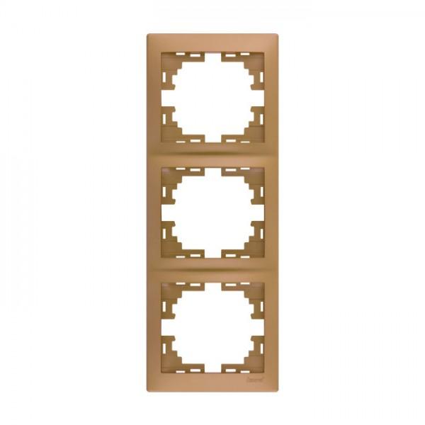 Рамка 3-ая вертикальная б/вст, матовое золото металлик, Mira фото, цена