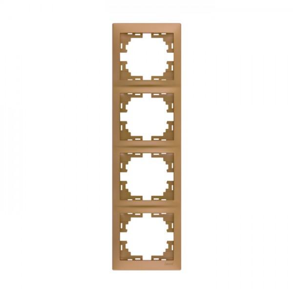 Рамка 4-ая вертикальная б/вст, матовое золото металлик, Mira фото, цена