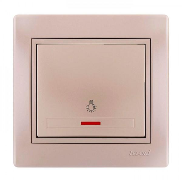 Кнопка звонка с подсветкой, жемчужно-белый металлик, Mira фото, цена