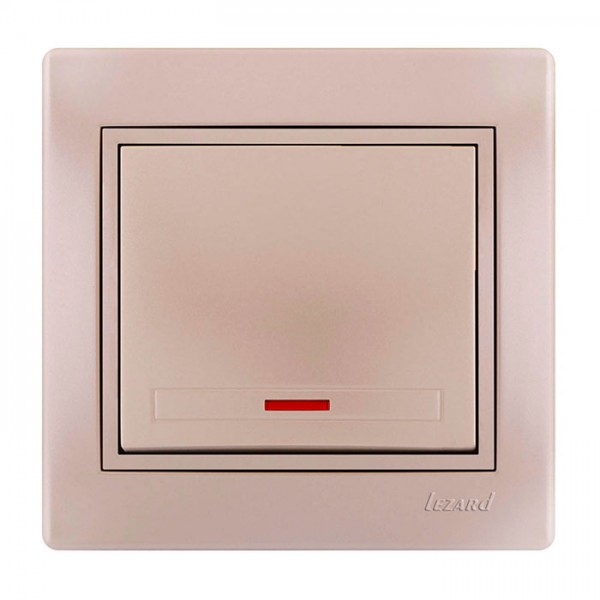 Выключатель с подсветкой, жемчужно-белый металлик, Mira фото, цена