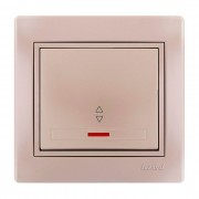 Выключатели Выключатель проходной с подсветкой, жемчужно-белый металлик, Mira фото, цена