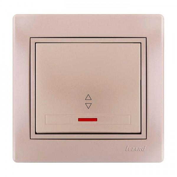 Выключатель проходной с подсветкой, жемчужно-белый металлик, Mira фото, цена