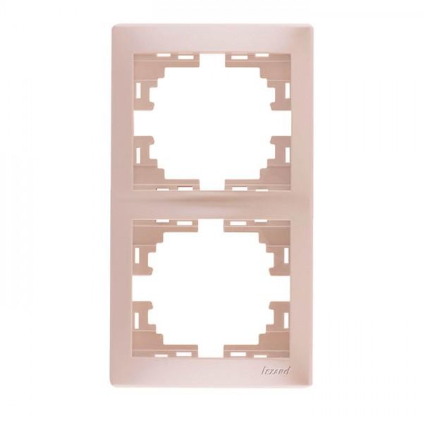 Рамка 2-ая вертикальная б/вст, жемчужно-белый металлик, Mira фото, цена