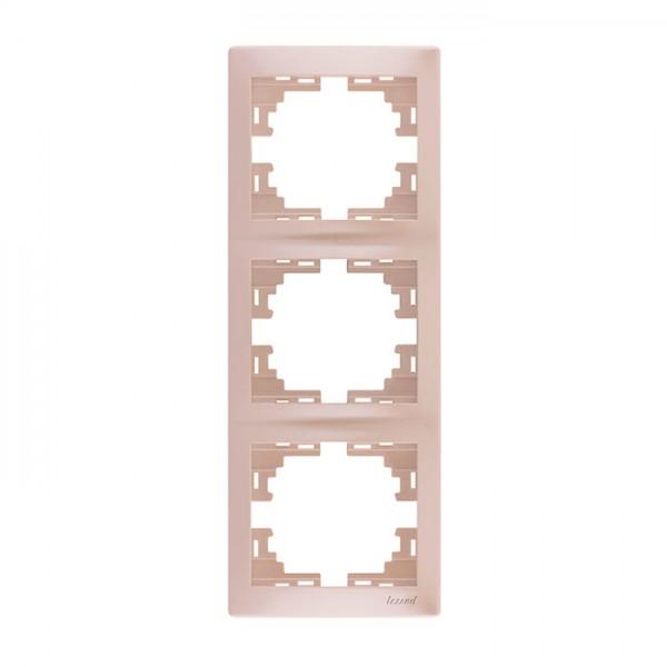 Рамка 3-ая вертикальная б/вст, жемчужно-белый металлик, Mira фото, цена
