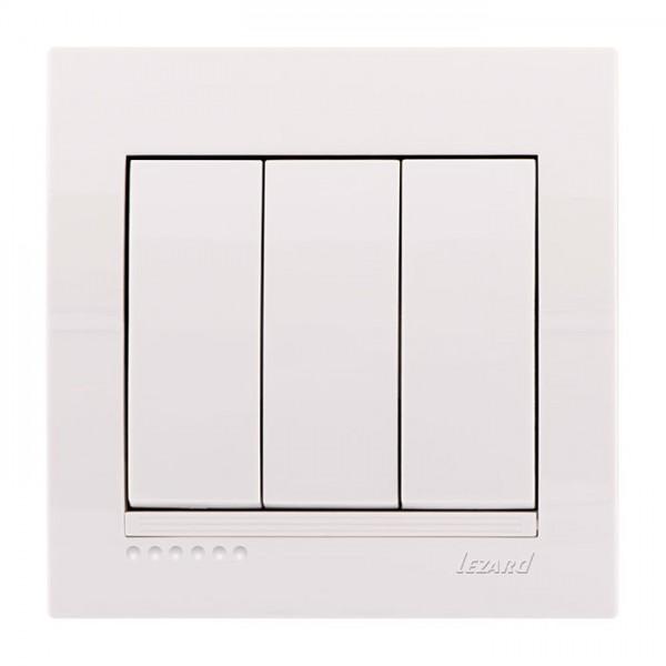 Выключатель тройной, белый, Deriy фото, цена