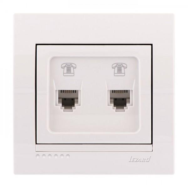 Розетка телефонная двойная евро, белый, Deriy фото, цена
