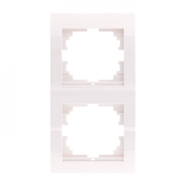 Рамка 2-ая вертикальная б/вст, белый, Deriy фото, цена