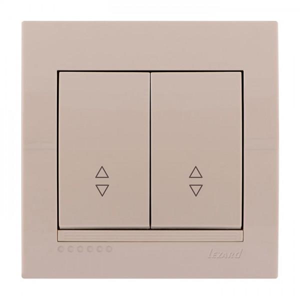 Выключатель проходной двойной, крем, Deriy фото, цена