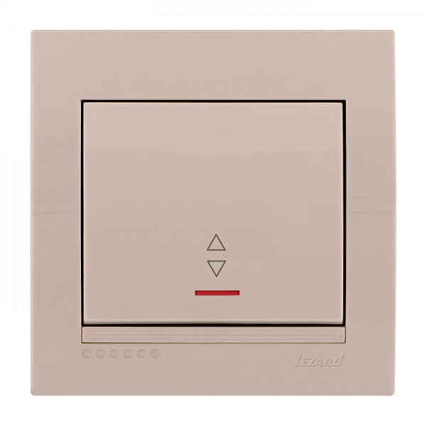 Выключатель проходной с подсветкой, крем, Deriy фото, цена