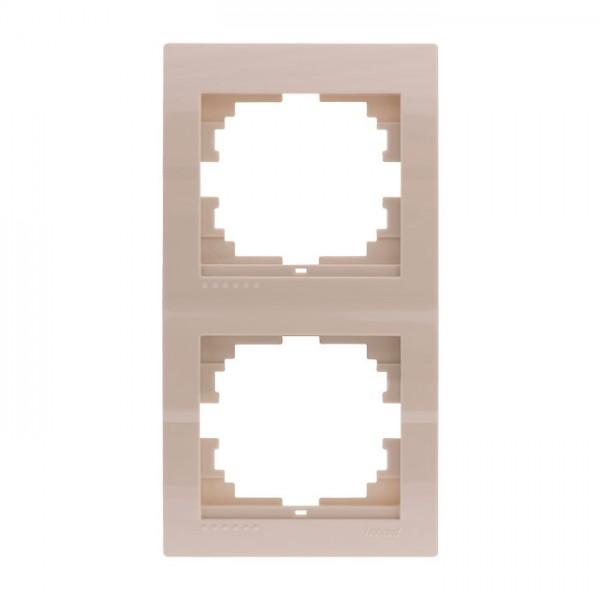 Рамка 2-ая вертикальная б/вст, крем, Deriy фото, цена