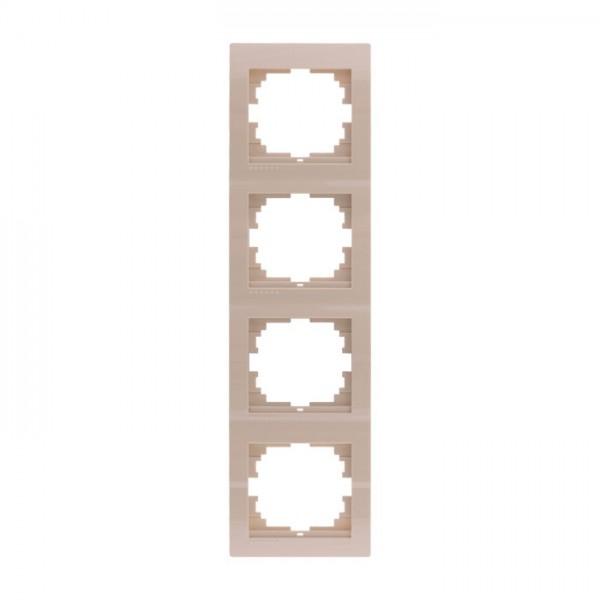 Рамка 4-ая вертикальная б/вст, крем, Deriy фото, цена