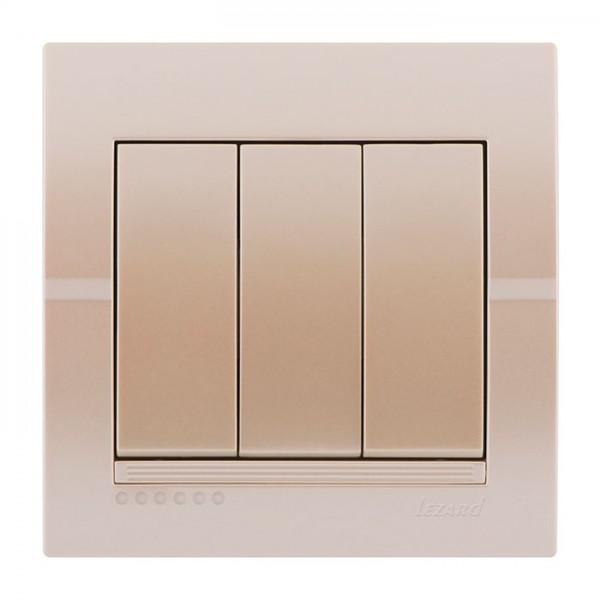 Выключатель тройной, жемчужно-белый металлик, Deriy фото, цена