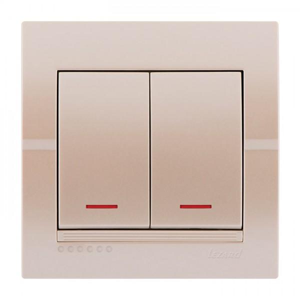 Выключатель двойной с подсветкой, жемчужно-белый металлик, Deriy фото, цена