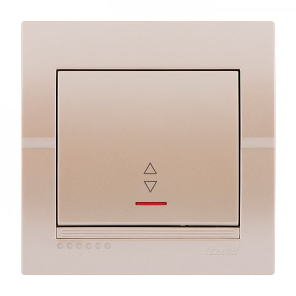 Выключатель проходной с подсветкой, жемчужно-белый металлик, Deriy фото, цена